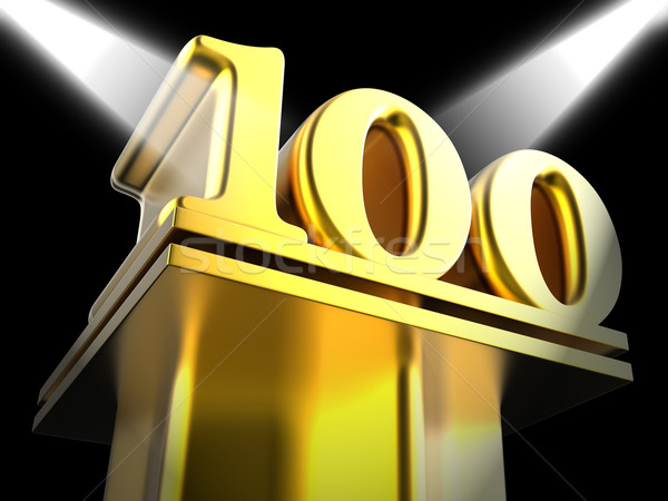 Golden One Hundred On Pedestal Shows Century Anniversary Or Reco Stock photo © stuartmiles