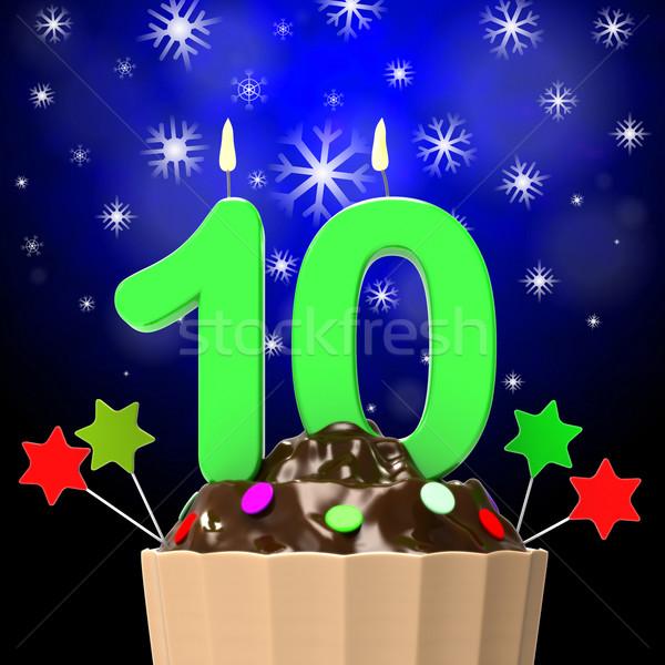 Tíz gyertya minitorta édes desszertek torták Stock fotó © stuartmiles