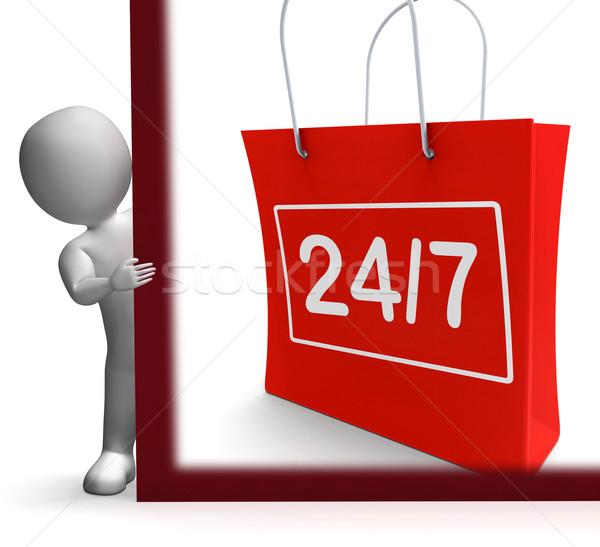 двадцать четыре семь торговых знак открытых Сток-фото © stuartmiles