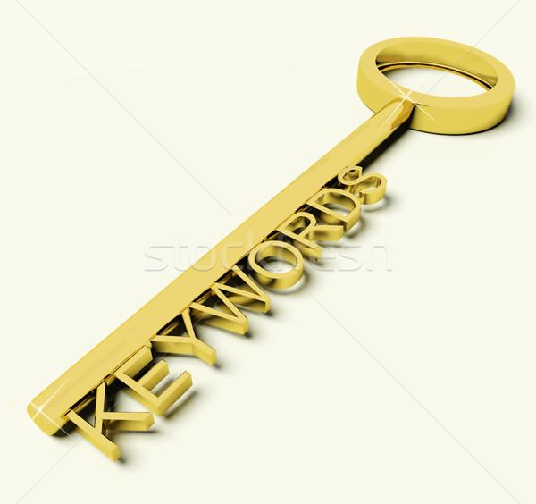 Anahtar metin simge seo arama altın Stok fotoğraf © stuartmiles