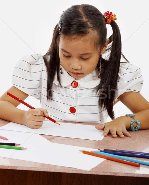 Young Girl Drawing A Picture  Stock photo © stuartmiles