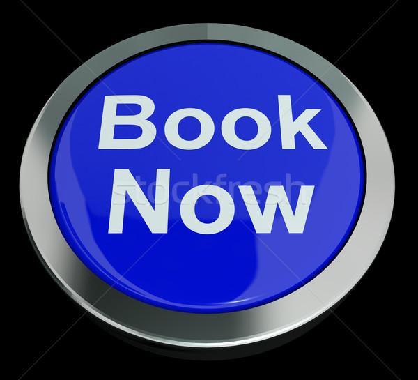 Kék könyv most gomb hotel repülés Stock fotó © stuartmiles