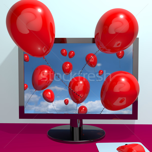Red Balloons In The Sky And Coming Out Of Screen For Online Gree Stock photo © stuartmiles