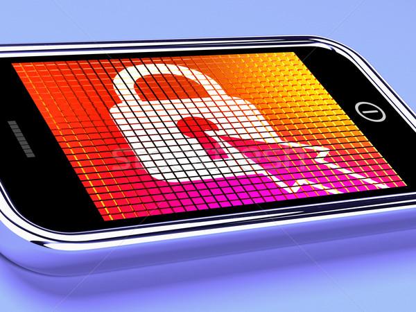 Zárolt lakat mobil képernyő hozzáférés védett Stock fotó © stuartmiles