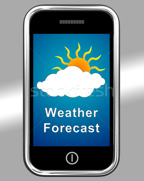 Mobile Phone Shows Cloudy Weather Forecast Stock photo © stuartmiles