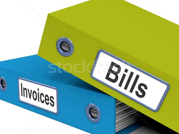 Számlák számlák akták előadás könyvelés kiadások Stock fotó © stuartmiles