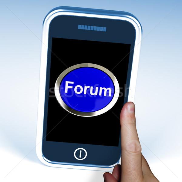 Fórum botão móvel informação Foto stock © stuartmiles