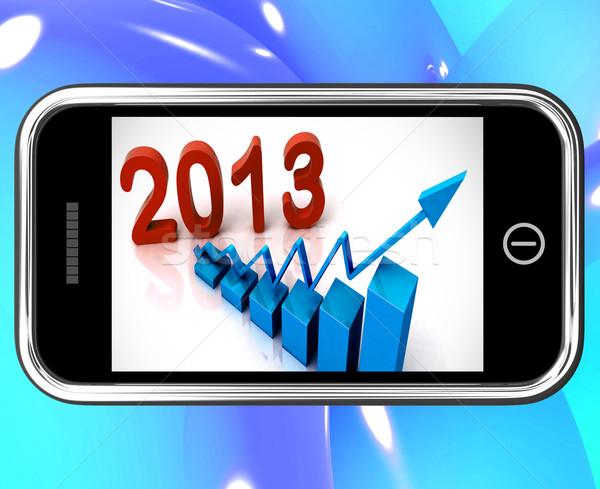 2013 Statistics On Smartphone Showing Future Progression Stock photo © stuartmiles