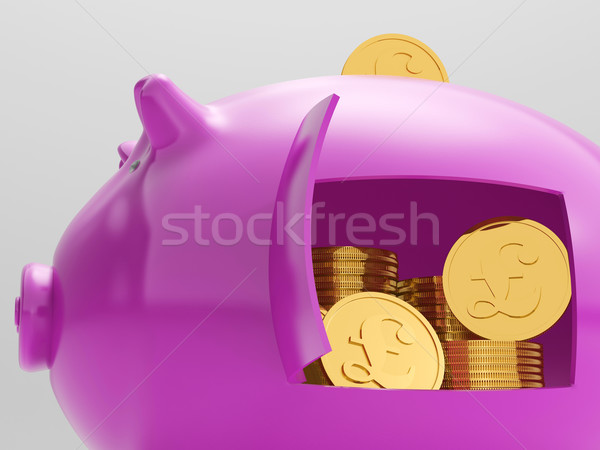 Pounds In Piggy Shows UK Financing Investment Stock photo © stuartmiles
