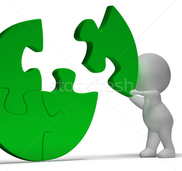 Completing Jigsaw Showing Solution Completing Or Achievement Stock photo © stuartmiles