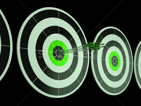 Triple Dart Shows Focused Successful Aim Stock photo © stuartmiles