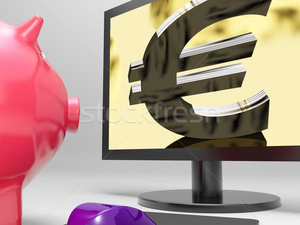 Euro Screen Shows Finance Wealth And Prosperity Stock photo © stuartmiles