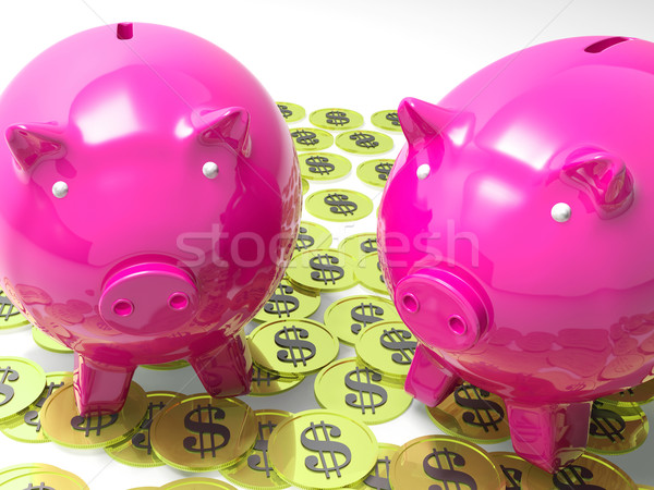 Piggybanks On Coins Shows American Earnings Stock photo © stuartmiles