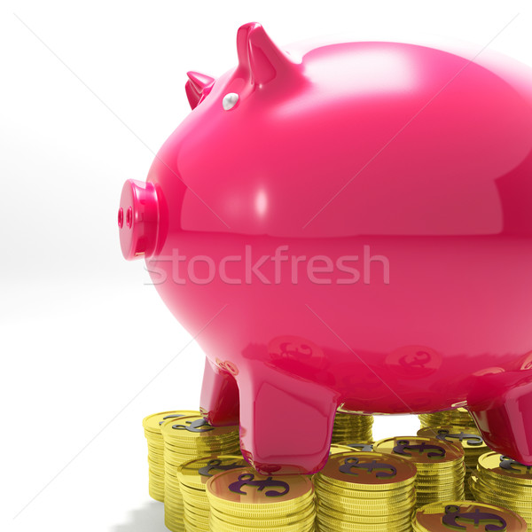 Piggybank On Coins Shows International Economy Stock photo © stuartmiles