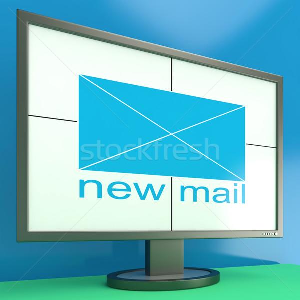 Stock fotó: új · posta · boríték · monitor · mutat · online