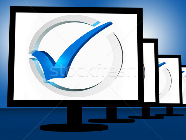 Check Mark On Monitors Shows User's Satisfaction Stock photo © stuartmiles