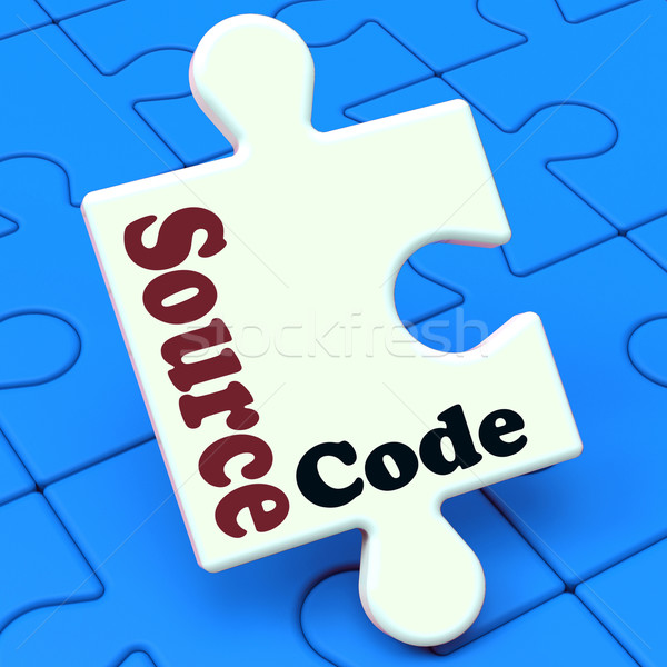 Stockfoto: Bron · code · puzzel · software · programma · programmering