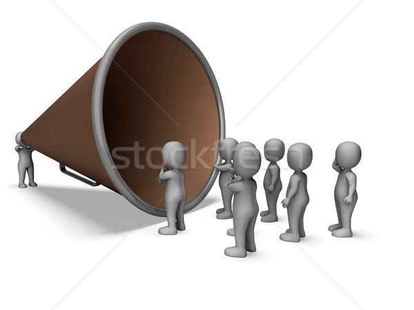 Megaphone Character Shows Announcement Proclaim Explaining And L Stock photo © stuartmiles