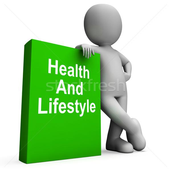 Sağlık yaşam tarzı kitap karakter sağlıklı yaşam Stok fotoğraf © stuartmiles