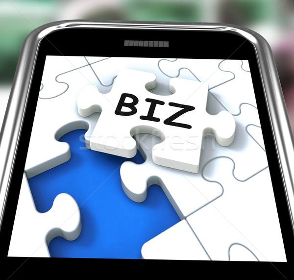 Biz Smartphone Means Internet Company Or Commerce Stock photo © stuartmiles