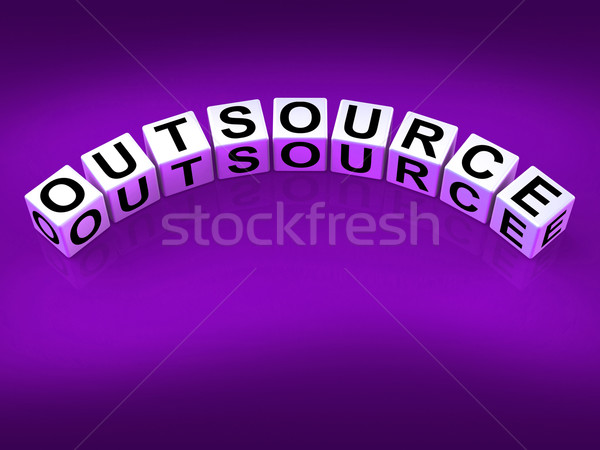 Outsource Blocks Show Outsourcing and Contracting Employment Stock photo © stuartmiles