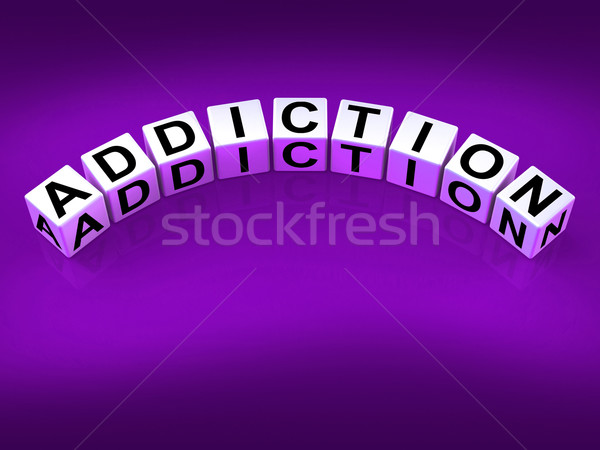 Stock photo: Addiction Blocks Represent Obsession Dependence and Cravings