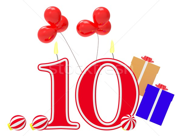 Number Ten Candles Show Holiday Decorations Or Christmas Celebra Stock photo © stuartmiles