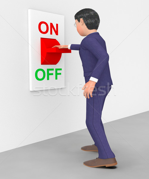 Businessman Switched Off Shows Conserve Energy And Control Stock photo © stuartmiles