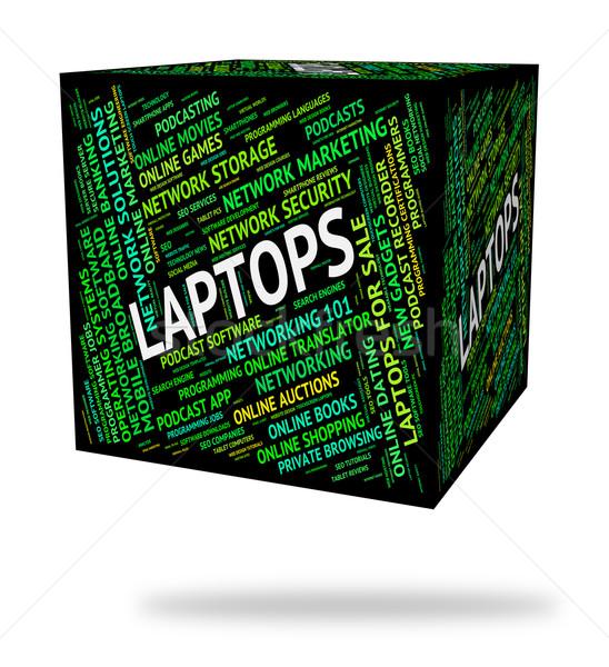 Laptops woord bewerker digitale communicatie online Stockfoto © stuartmiles