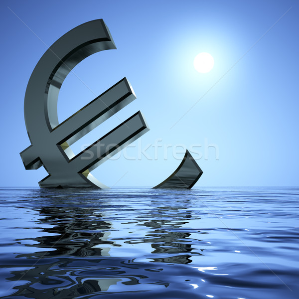 Euro Sinking In The Sea Showing Depression Recession And Economi Stock photo © stuartmiles