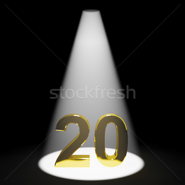 Stock photo: Gold 20th Or Twenty 3d Number Showing Anniversary Or Birthday