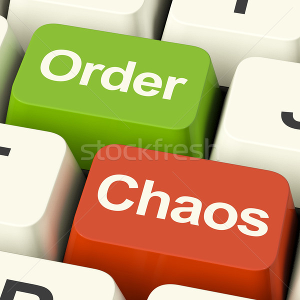 Order Or Chaos Keys Showing Either Organized Or Unorganized Stock photo © stuartmiles