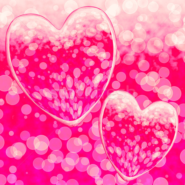 Pink Hearts Design On A Bokeh Background Showing Romance And Rom Stock photo © stuartmiles