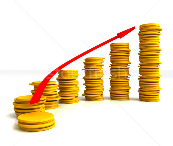Stock photo: Coin Stacks Shows Increasing Profit