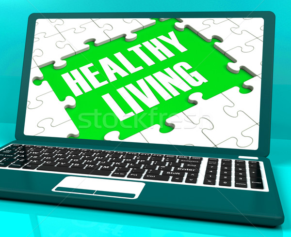 Healthy Living On Laptop Shows Wellbeing Stock photo © stuartmiles