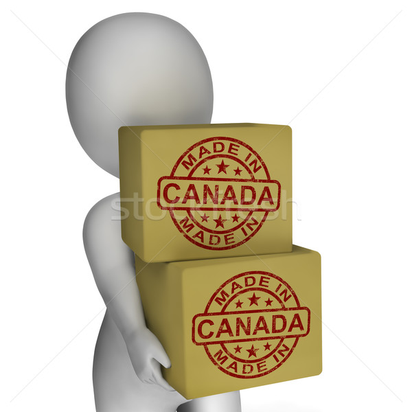 Made In Canada Stamp On Boxes Shows Canadian Products Stock photo © stuartmiles