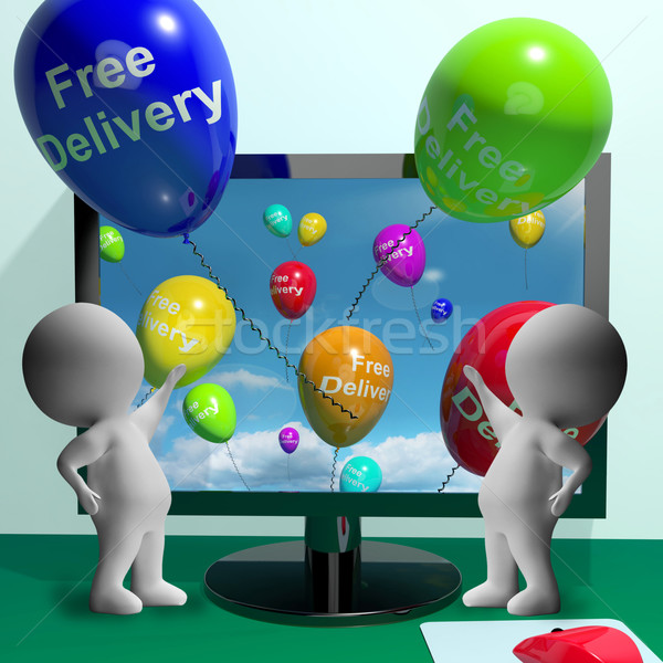 Free Delivery Balloons From Computer Showing No Charge To Delive Stock photo © stuartmiles