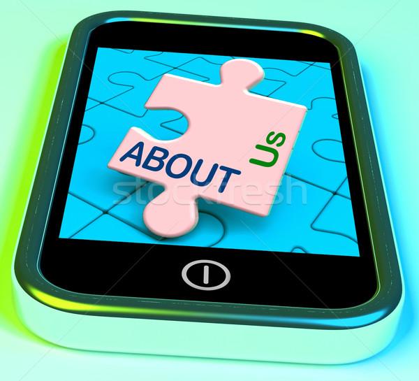 Over ons telefoon bedrijf profiel informatie tonen Stockfoto © stuartmiles
