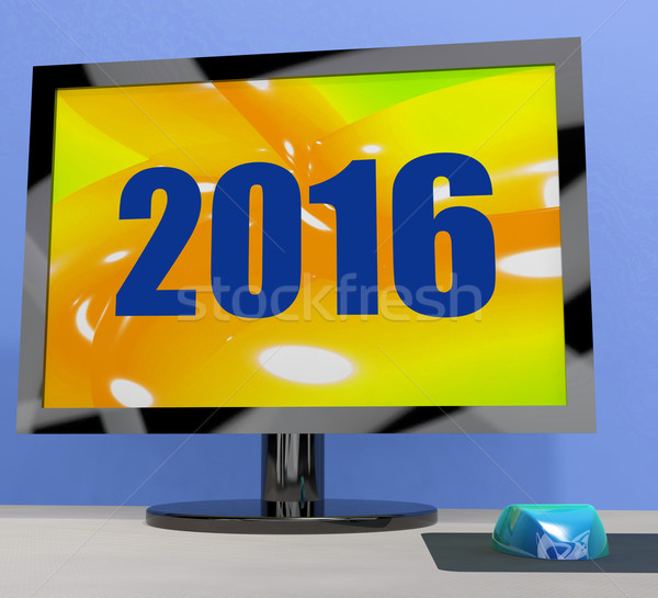 Two Thousand And Sixteen On Monitor Shows Year 2016 Stock photo © stuartmiles