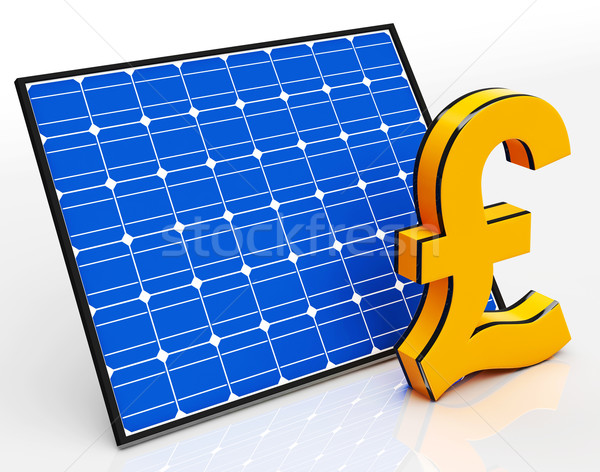 Zonnepaneel pond teken besparing geld tonen Stockfoto © stuartmiles