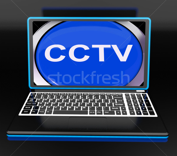 CCTV Laptop Monitor Shows Security Protection Or Monitoring Onli Stock photo © stuartmiles