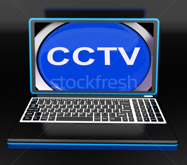 Cctv laptop monitor veiligheid bescherming Stockfoto © stuartmiles