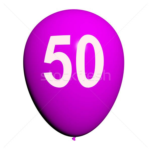 50 Balloon Shows Fiftieth Happy Birthday Celebration Stock photo © stuartmiles