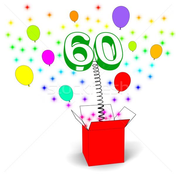Number Sixty Surprise Box Shows Elderly Surprise Party Or Celebr Stock photo © stuartmiles