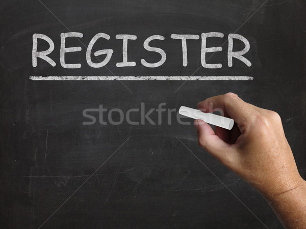 Stock photo: Register Blackboard Shows Joining Subscribing Or Check In
