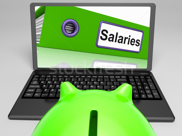 Salaries Laptop Means Payroll And Income On Internet Stock photo © stuartmiles