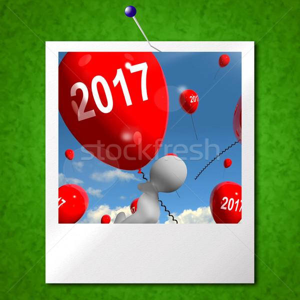 Kettő ezer tizenhét léggömbök fotó év Stock fotó © stuartmiles