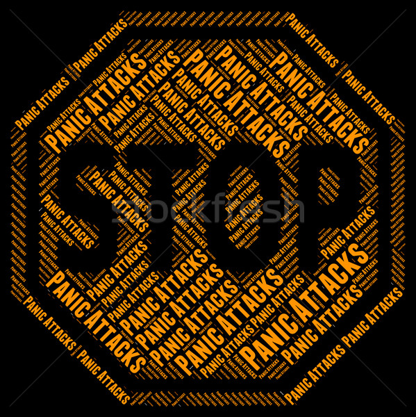Stock photo: Stop Panic Indicates Danger Prohibited And Control