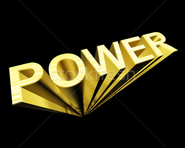 Power Text In Gold And 3d As Symbol For Energy And Industry Stock