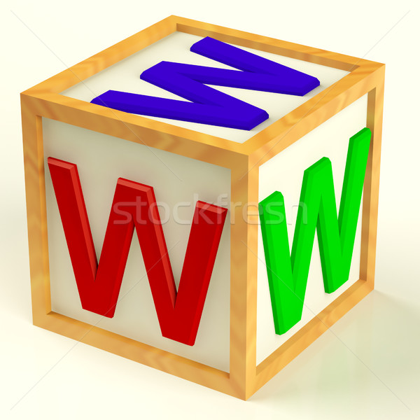 Www symbool internet informatie houten onderwijs Stockfoto © stuartmiles